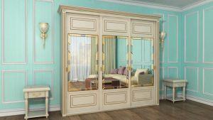 Шкаф купе с фрезеровкой и зеркальным панно Барнаул