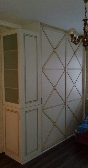 Классический шкаф купе эмаль+патина Барнаул