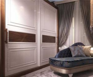 Шкаф купе с эмитацией филенки и фигурной накладкой, ламинация, шпон, эмаль Барнаул